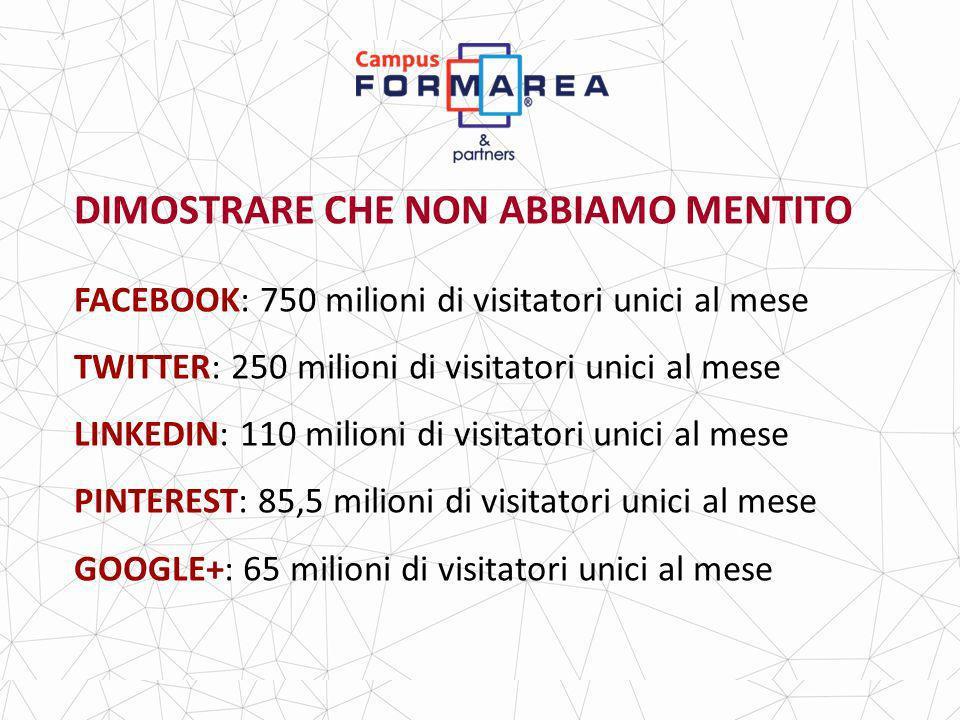 DIMOSTRARE CHE NON ABBIAMO MENTITO FACEBOOK: 750 milioni di visitatori unici al mese TWITTER: 250 milioni di visitatori unici al mese LINKEDIN: 110 milioni di visitatori unici al mese PINTEREST: 85,5 milioni di visitatori unici al mese GOOGLE+: 65 milioni di visitatori unici al mese