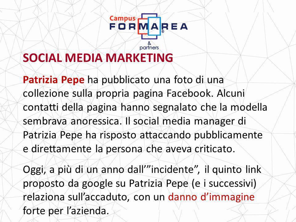 SOCIAL MEDIA MARKETING Patrizia Pepe ha pubblicato una foto di una collezione sulla propria pagina Facebook.
