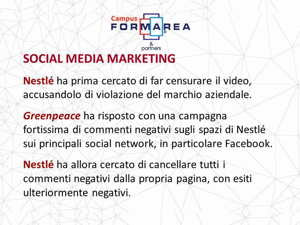 SOCIAL MEDIA MARKETING Nestlé ha prima cercato di far censurare il video, accusandolo di violazione del marchio aziendale.
