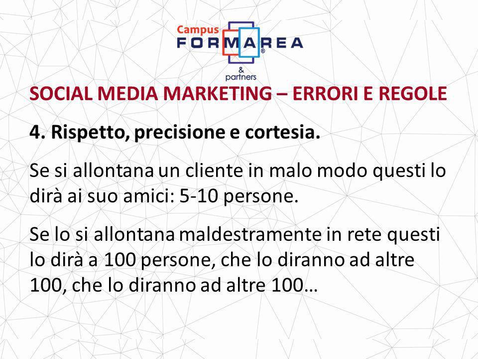 SOCIAL MEDIA MARKETING – ERRORI E REGOLE 4.Rispetto, precisione e cortesia.
