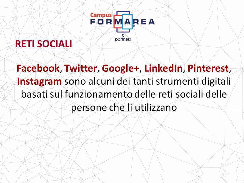 RETI SOCIALI Facebook, Twitter, Google+, LinkedIn, Pinterest, Instagram sono alcuni dei tanti strumenti digitali basati sul funzionamento delle reti sociali delle persone che li utilizzano