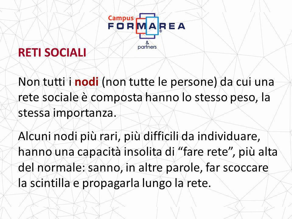 RETI SOCIALI Non tutti i nodi (non tutte le persone) da cui una rete sociale è composta hanno lo stesso peso, la stessa importanza.