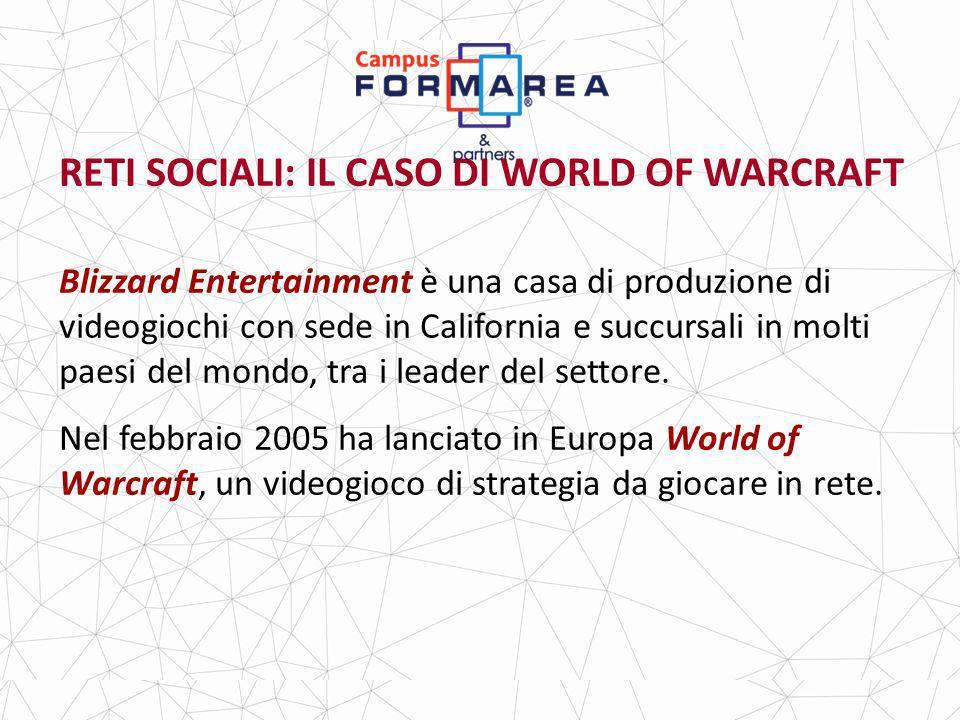 RETI SOCIALI: IL CASO DI WORLD OF WARCRAFT Blizzard Entertainment è una casa di produzione di videogiochi con sede in California e succursali in molti paesi del mondo, tra i leader del settore.