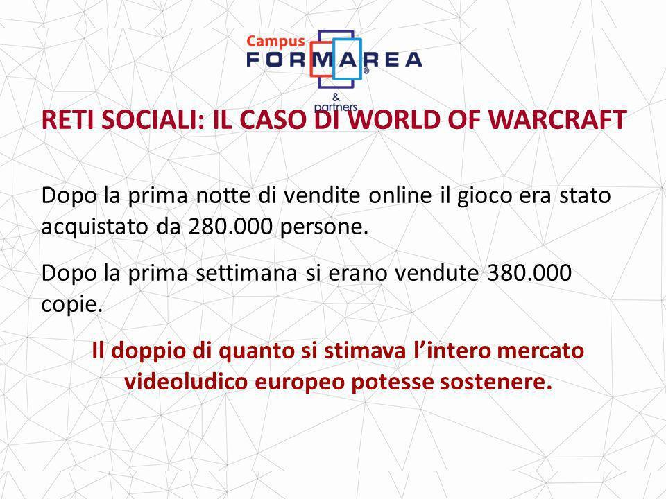 RETI SOCIALI: IL CASO DI WORLD OF WARCRAFT Dopo la prima notte di vendite online il gioco era stato acquistato da 280.000 persone.