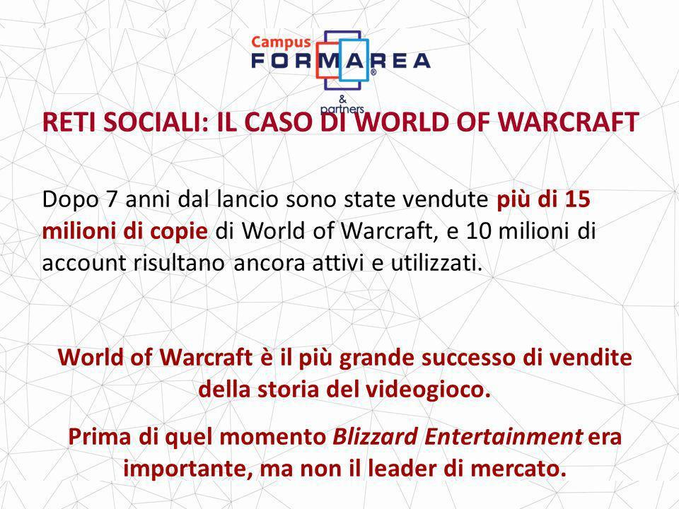 RETI SOCIALI: IL CASO DI WORLD OF WARCRAFT Dopo 7 anni dal lancio sono state vendute più di 15 milioni di copie di World of Warcraft, e 10 milioni di account risultano ancora attivi e utilizzati.
