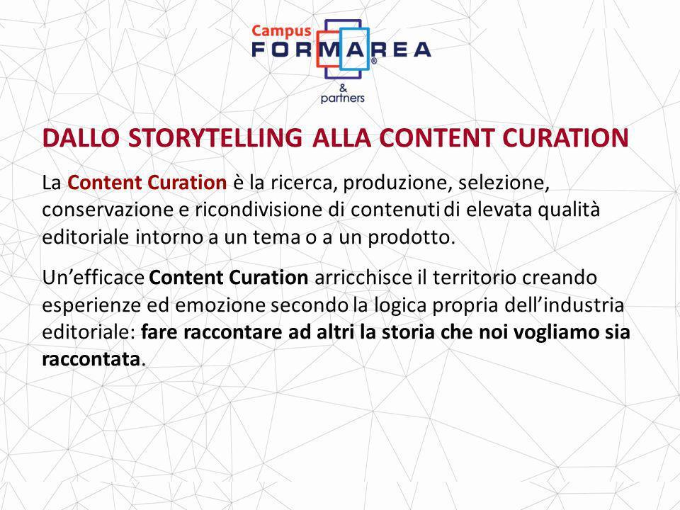 DALLO STORYTELLING ALLA CONTENT CURATION La Content Curation è la ricerca, produzione, selezione, conservazione e ricondivisione di contenuti di elevata qualità editoriale intorno a un tema o a un prodotto.