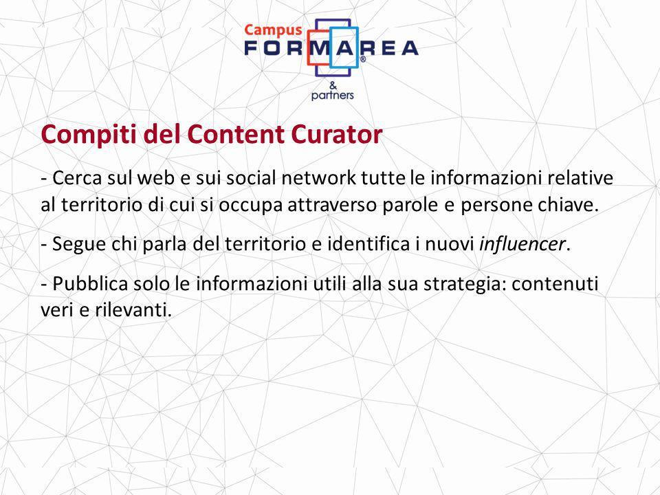 Compiti del Content Curator - Cerca sul web e sui social network tutte le informazioni relative al territorio di cui si occupa attraverso parole e persone chiave.