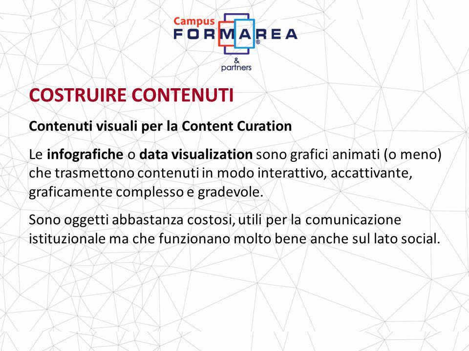 COSTRUIRE CONTENUTI Contenuti visuali per la Content Curation Le infografiche o data visualization sono grafici animati (o meno) che trasmettono contenuti in modo interattivo, accattivante, graficamente complesso e gradevole.