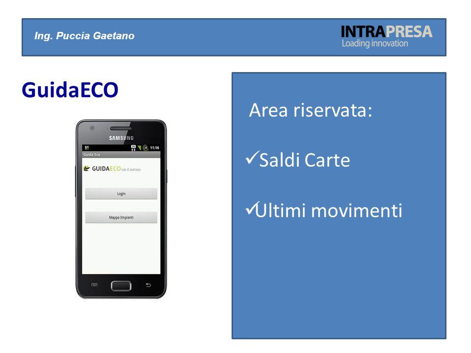 Ing. Puccia Gaetano GuidaECO Area riservata: Saldi Carte Ultimi movimenti