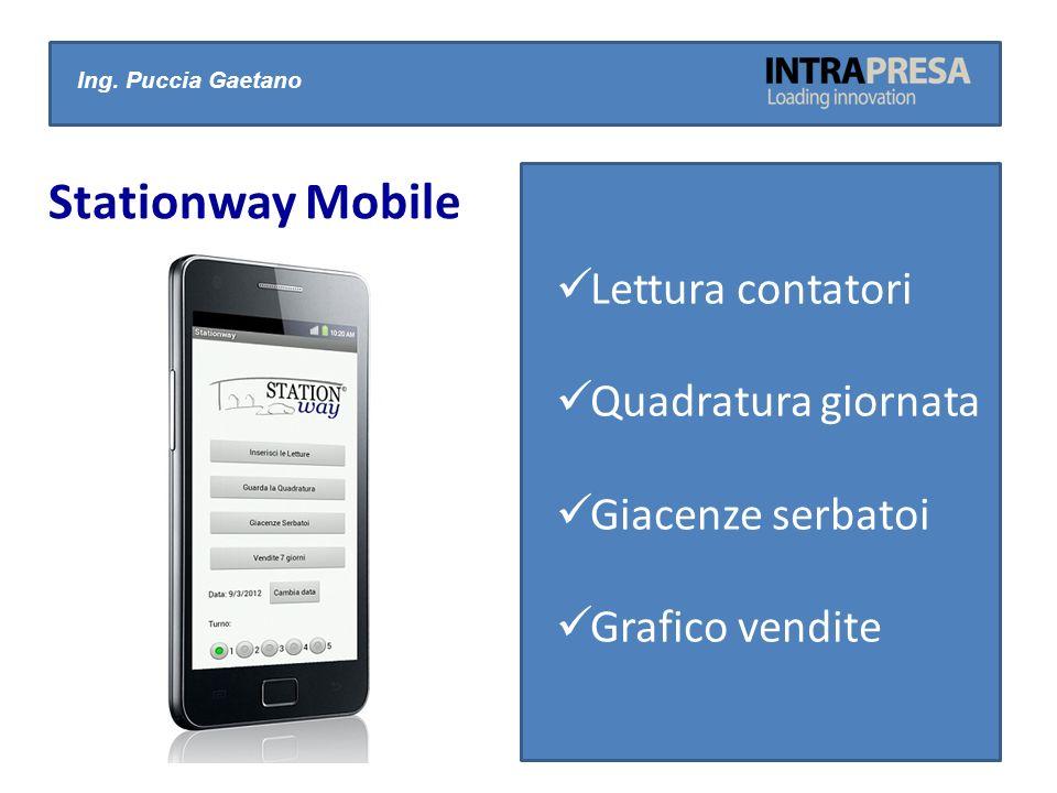 Ing. Puccia Gaetano Stationway Mobile Lettura contatori Quadratura giornata Giacenze serbatoi Grafico vendite