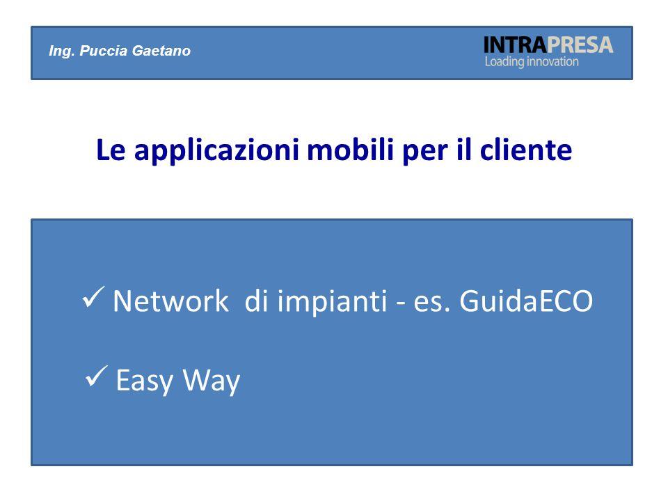 Network di impianti - es. GuidaECO Ing. Puccia Gaetano Le applicazioni mobili per il cliente Easy Way