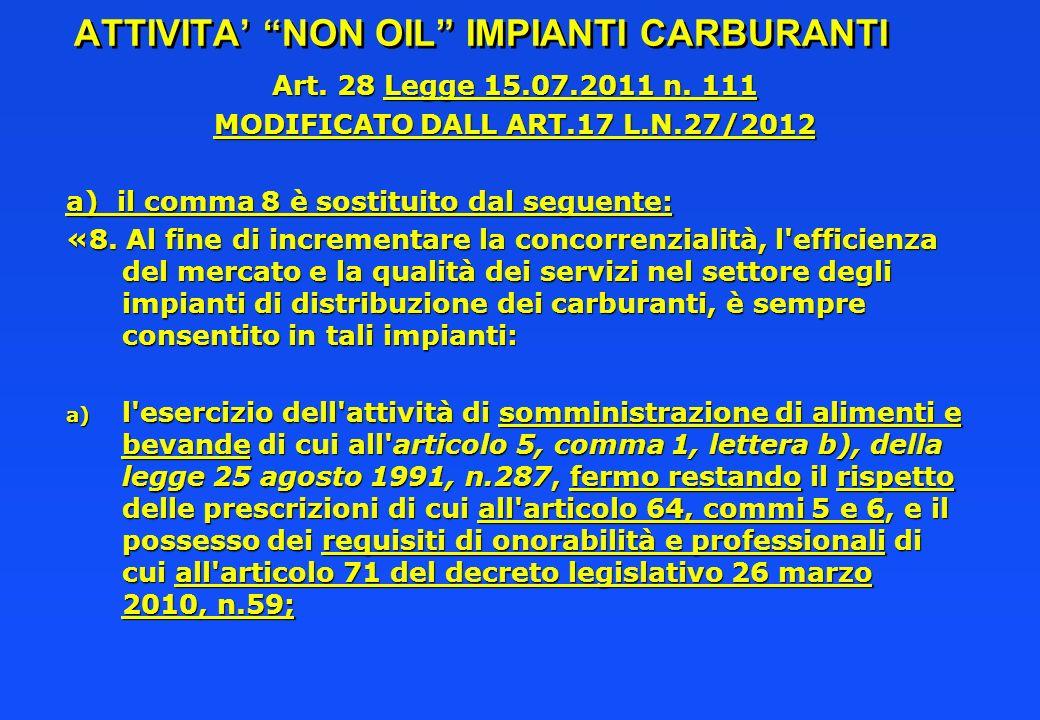 ATTIVITA NON OIL IMPIANTI CARBURANTI Art. 28 Legge 15.07.2011 n. 111 MODIFICATO DALL ART.17 L.N.27/2012 a) il comma 8 è sostituito dal seguente: «8. A