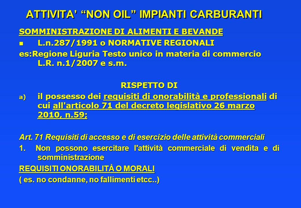 ATTIVITA NON OIL IMPIANTI CARBURANTI SOMMINISTRAZIONE DI ALIMENTI E BEVANDE n L.n.287/1991 o NORMATIVE REGIONALI es:Regione Liguria Testo unico in mat