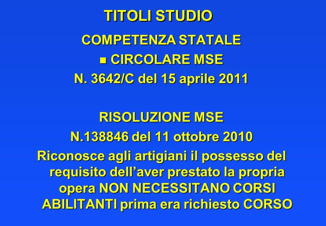 TITOLI STUDIO COMPETENZA STATALE n CIRCOLARE MSE N. 3642/C del 15 aprile 2011 RISOLUZIONE MSE N.138846 del 11 ottobre 2010 Riconosce agli artigiani il