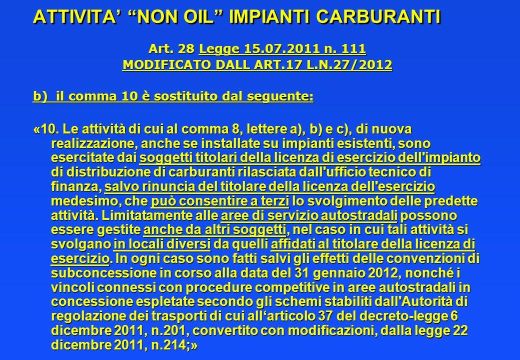 ATTIVITA NON OIL IMPIANTI CARBURANTI Art. 28 Legge 15.07.2011 n. 111 MODIFICATO DALL ART.17 L.N.27/2012 b) il comma 10 è sostituito dal seguente: «10.