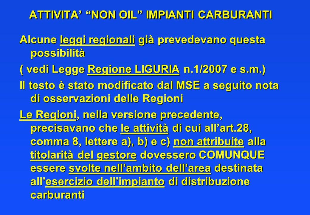 ATTIVITA NON OIL IMPIANTI CARBURANTI Alcune leggi regionali già prevedevano questa possibilità ( vedi Legge Regione LIGURIA n.1/2007 e s.m.) Il testo