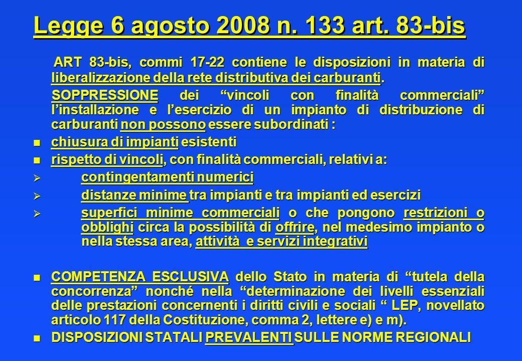 Legge 6 agosto 2008 n. 133 art. 83-bis ART 83-bis, commi 17-22 contiene le disposizioni in materia di liberalizzazione della rete distributiva dei car