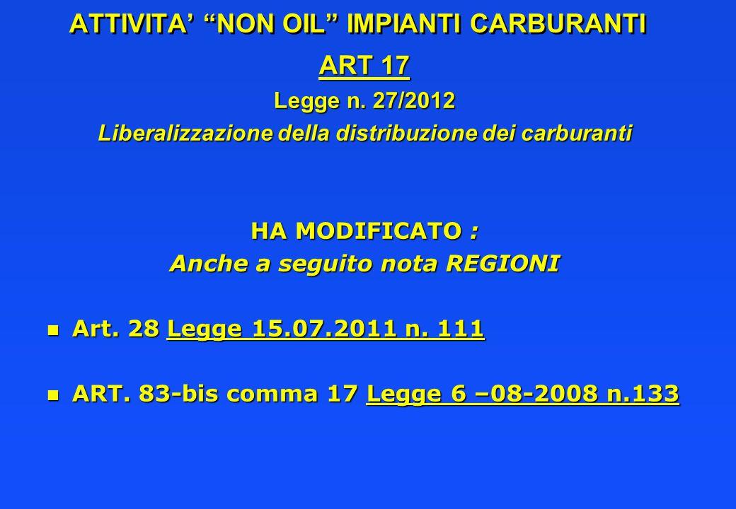 ATTIVITA NON OIL IMPIANTI CARBURANTI ART 17 Legge n. 27/2012 Liberalizzazione della distribuzione dei carburanti HA MODIFICATO : Anche a seguito nota