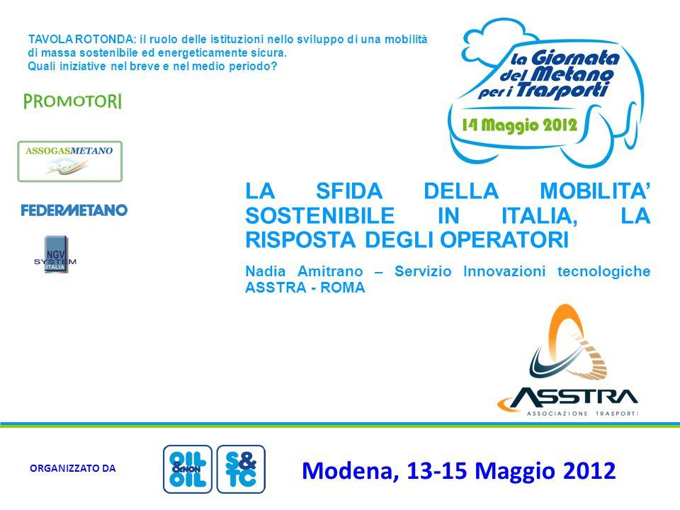 Modena, 13-15 Maggio 2012 ORGANIZZATO DA TAVOLA ROTONDA: il ruolo delle istituzioni nello sviluppo di una mobilità di massa sostenibile ed energeticam