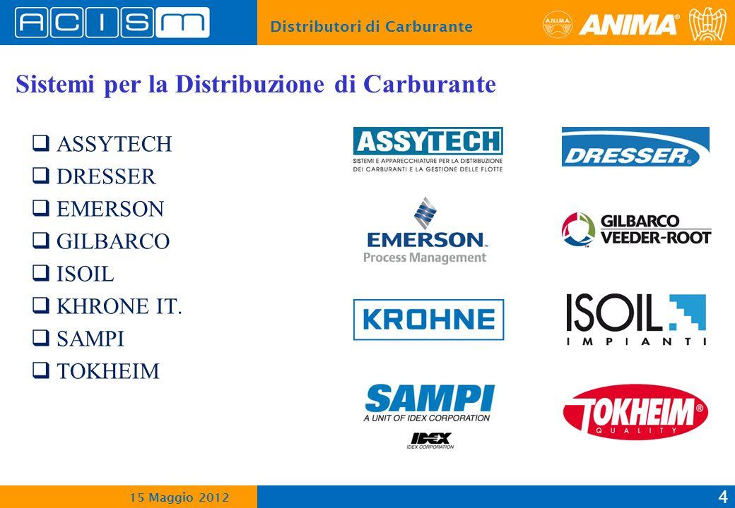 Distributori di Carburante 4 15 Maggio 2012 Sistemi per la Distribuzione di Carburante ASSYTECH DRESSER EMERSON GILBARCO ISOIL KHRONE IT.