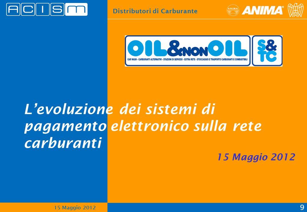 Distributori di Carburante 9 15 Maggio 2012 Levoluzione dei sistemi di pagamento elettronico sulla rete carburanti 15 Maggio 2012