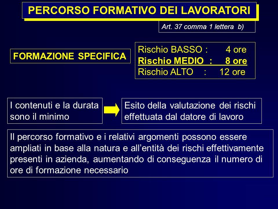 Art. 37 comma 1 lettera b) PERCORSO FORMATIVO DEI LAVORATORI Il percorso formativo e i relativi argomenti possono essere ampliati in base alla natura