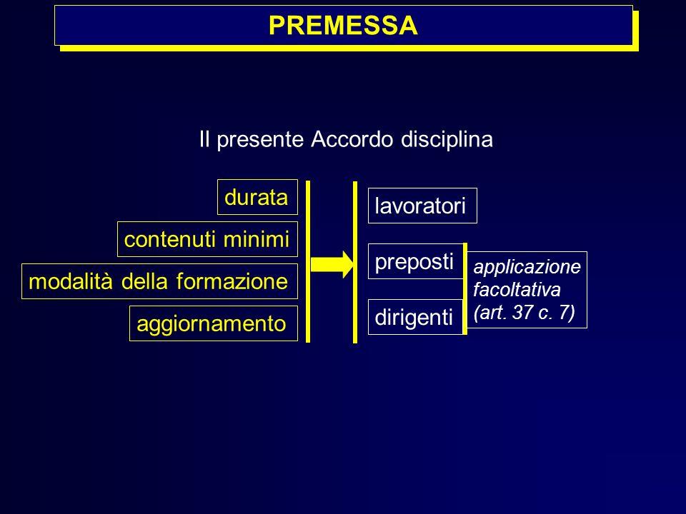 PREMESSA Il presente Accordo disciplina durata contenuti minimi modalità della formazione aggiornamento lavoratori preposti dirigenti applicazione fac