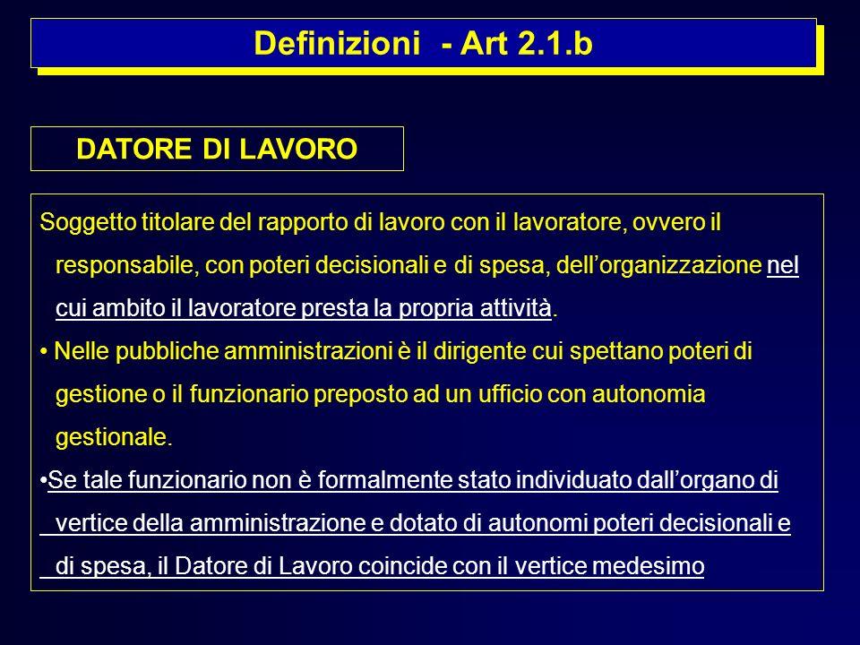 Definizioni - Art 2.1.b Soggetto titolare del rapporto di lavoro con il lavoratore, ovvero il responsabile, con poteri decisionali e di spesa, dellorg