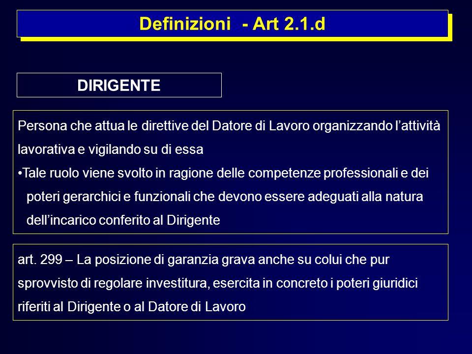 Definizioni - Art 2.1.d Persona che attua le direttive del Datore di Lavoro organizzando lattività lavorativa e vigilando su di essa Tale ruolo viene