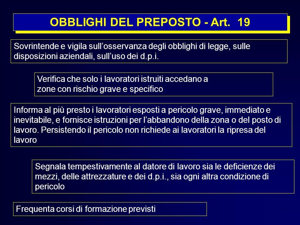 OBBLIGHI DEL PREPOSTO - Art. 19 Sovrintende e vigila sullosservanza degli obblighi di legge, sulle disposizioni aziendali, sulluso dei d.p.i. Verifica