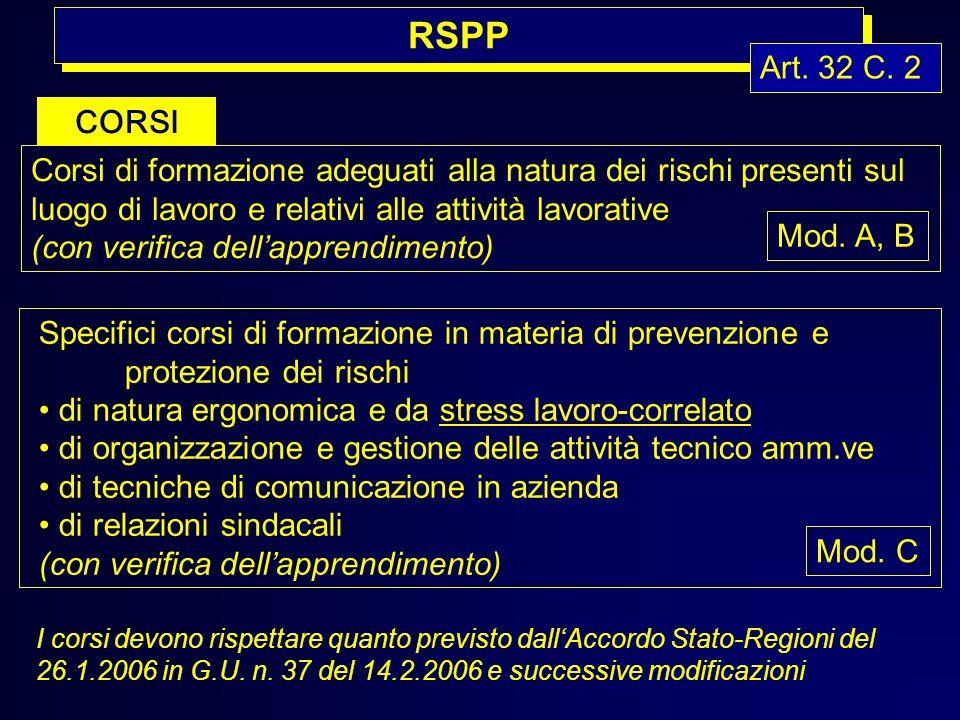 RSPP Art. 32 C. 2 CORSI Corsi di formazione adeguati alla natura dei rischi presenti sul luogo di lavoro e relativi alle attività lavorative (con veri