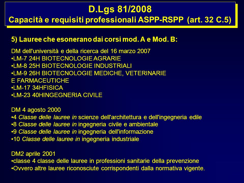 D.Lgs 81/2008 Capacità e requisiti professionali ASPP-RSPP (art. 32 C.5) D.Lgs 81/2008 Capacità e requisiti professionali ASPP-RSPP (art. 32 C.5) 5) L