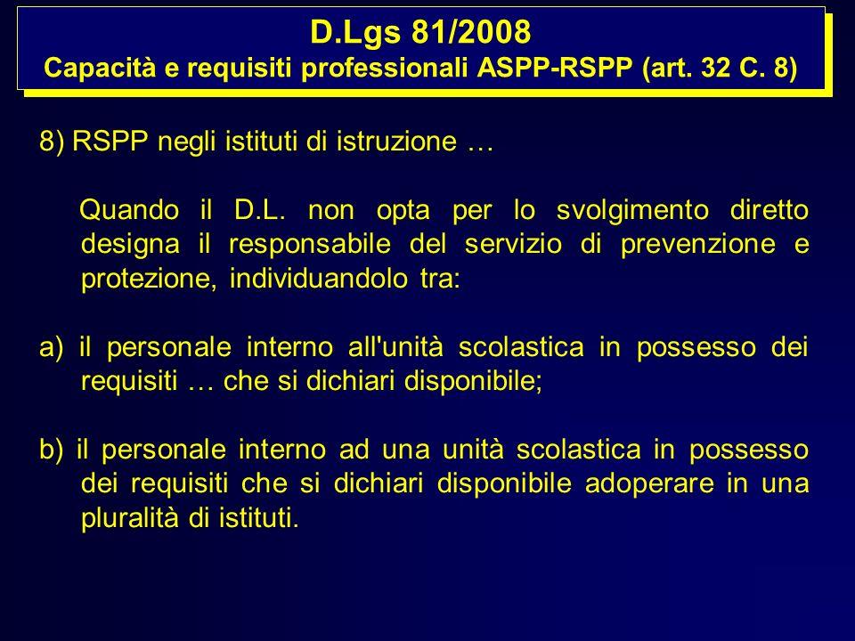 D.Lgs 81/2008 Capacità e requisiti professionali ASPP-RSPP (art. 32 C. 8) D.Lgs 81/2008 Capacità e requisiti professionali ASPP-RSPP (art. 32 C. 8) 8)