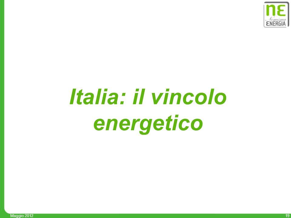 19 Maggio 2012 Italia: il vincolo energetico