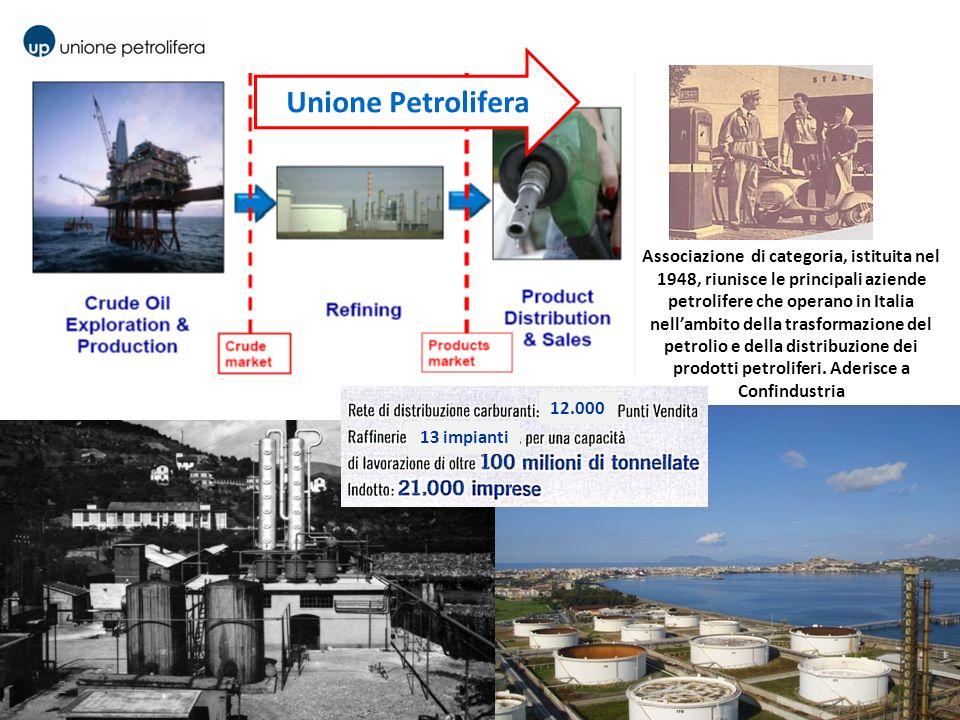 Unione Petrolifera 2 Associazione di categoria, istituita nel 1948, riunisce le principali aziende petrolifere che operano in Italia nellambito della