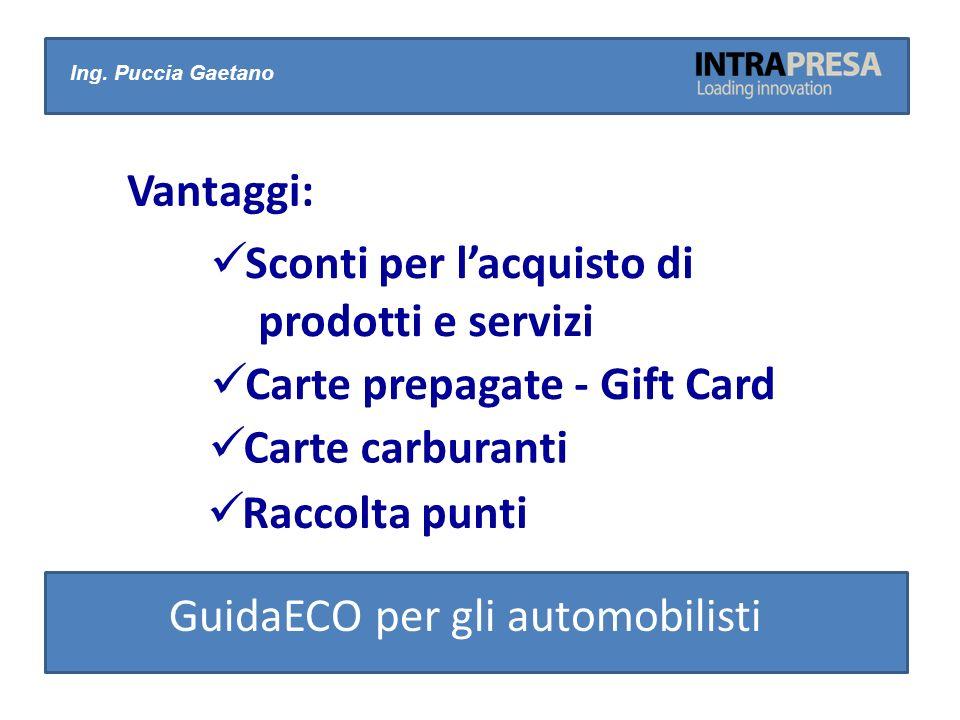 Ing. Puccia Gaetano Vantaggi: Sconti per lacquisto di prodotti e servizi Carte prepagate - Gift Card Carte carburanti Raccolta punti GuidaECO per gli