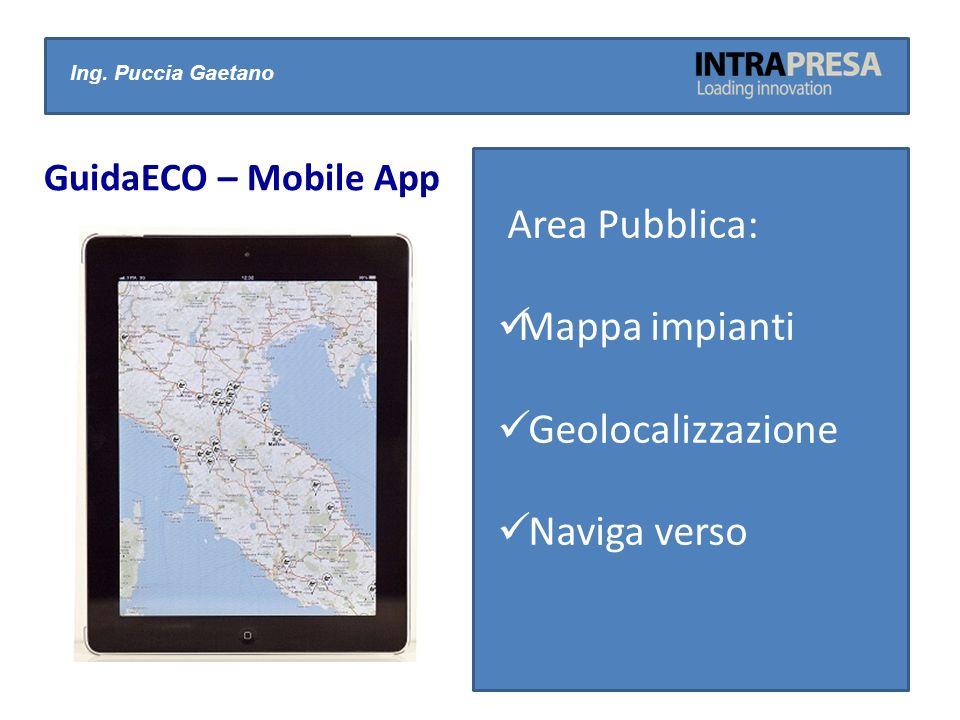 Ing. Puccia Gaetano GuidaECO – Mobile App Area Pubblica: Mappa impianti Geolocalizzazione Naviga verso