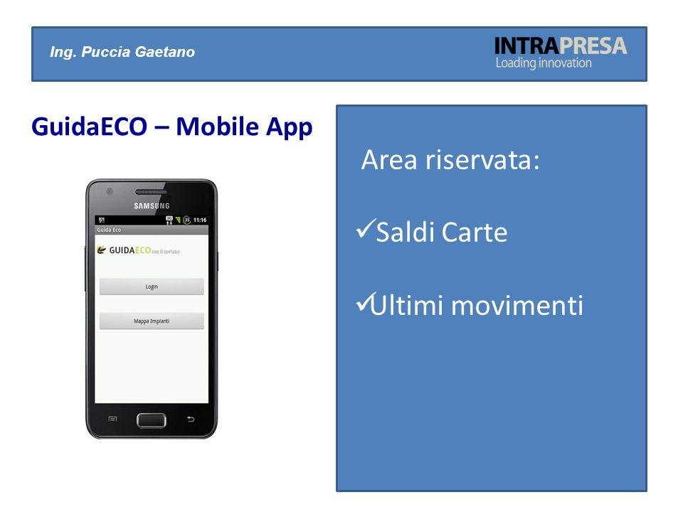 Ing. Puccia Gaetano Area riservata: Saldi Carte Ultimi movimenti GuidaECO – Mobile App