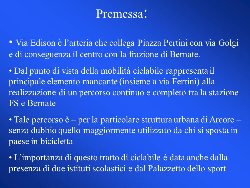 Premessa : Via Edison è larteria che collega Piazza Pertini con via Golgi e di conseguenza il centro con la frazione di Bernate. Dal punto di vista de