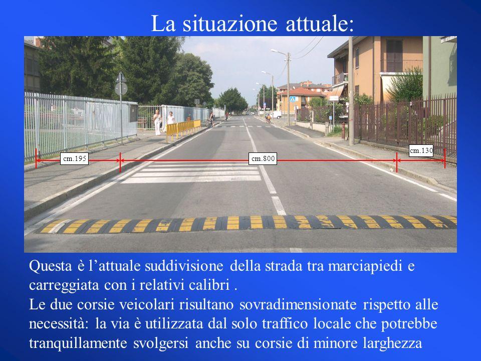 Questa è lattuale suddivisione della strada tra marciapiedi e carreggiata con i relativi calibri. Le due corsie veicolari risultano sovradimensionate