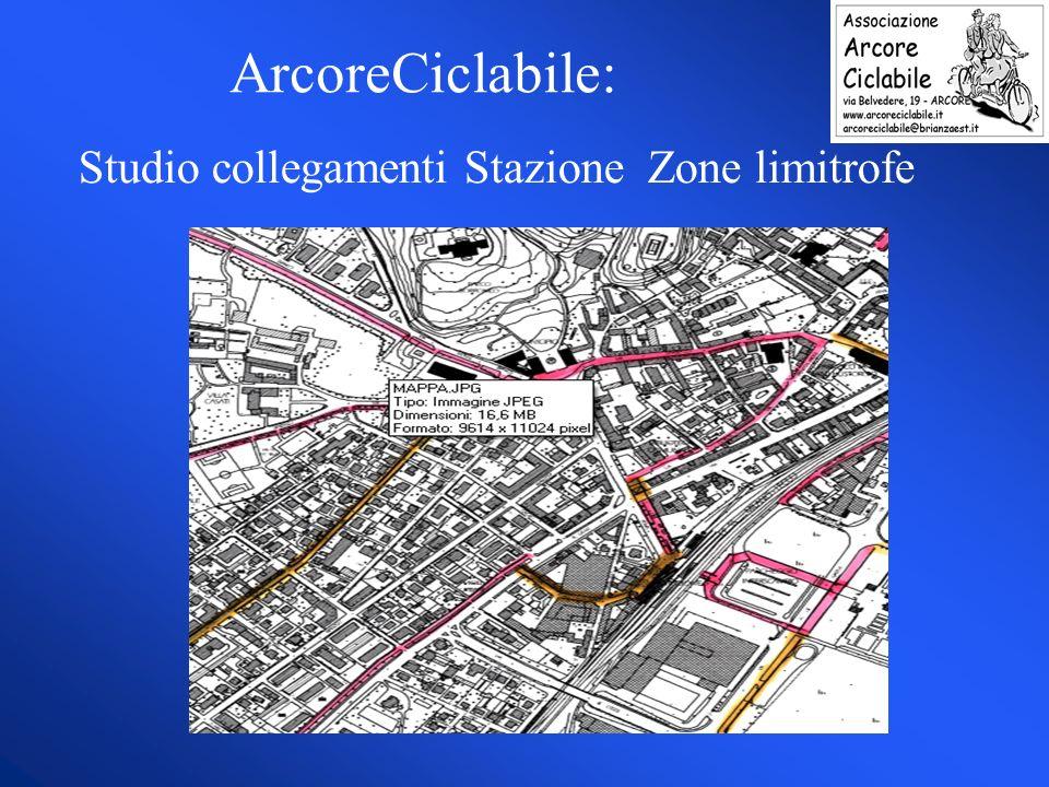 Studio collegamenti Stazione Zone limitrofe ArcoreCiclabile: