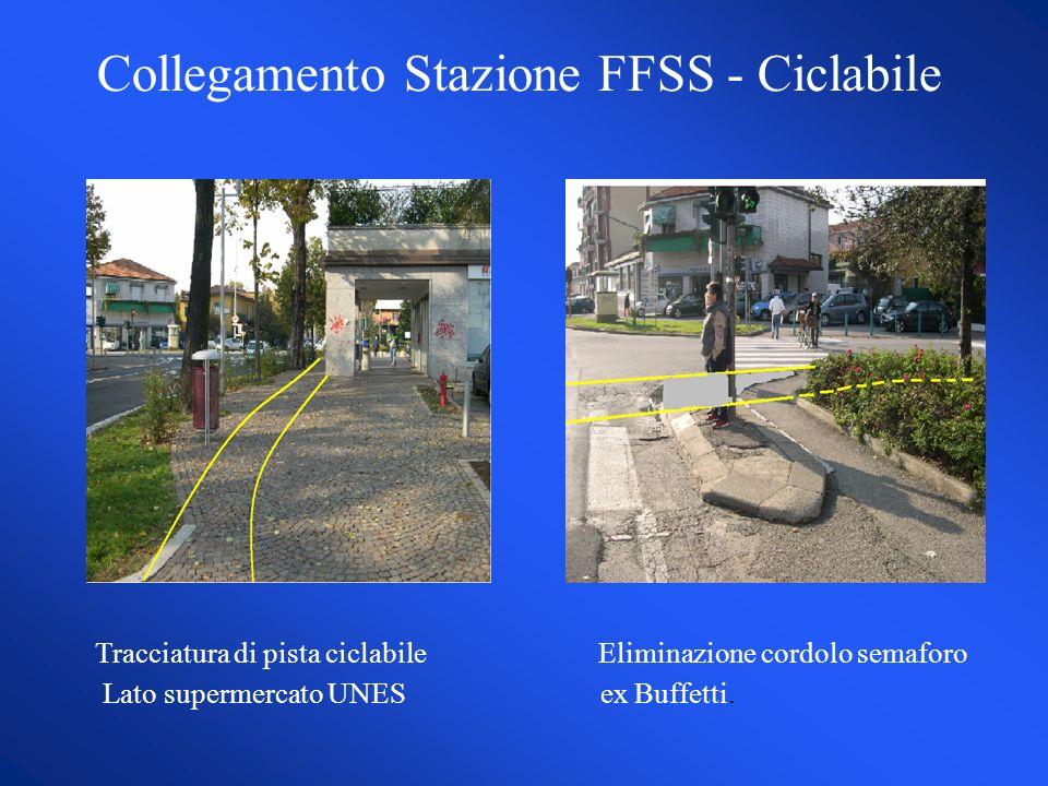 Collegamento Stazione FFSS - Ciclabile Tracciatura di pista ciclabile Eliminazione cordolo semaforo Lato supermercato UNES ex Buffetti.
