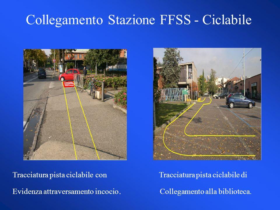 Tracciatura pista ciclabile con Tracciatura pista ciclabile di Evidenza attraversamento incocio.