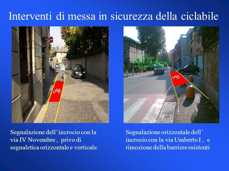 Interventi di messa in sicurezza della ciclabile Segnalazione dell incrocio con la via IV Novembre, privo di segnaletica orizzontale e verticale.