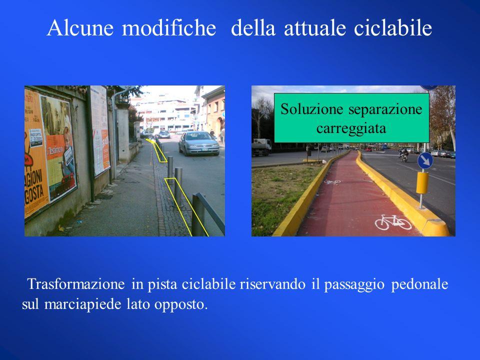 Alcune modifiche della attuale ciclabile Trasformazione in pista ciclabile riservando il passaggio pedonale sul marciapiede lato opposto.