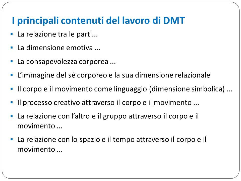 I principali contenuti del lavoro di DMT La relazione tra le parti...