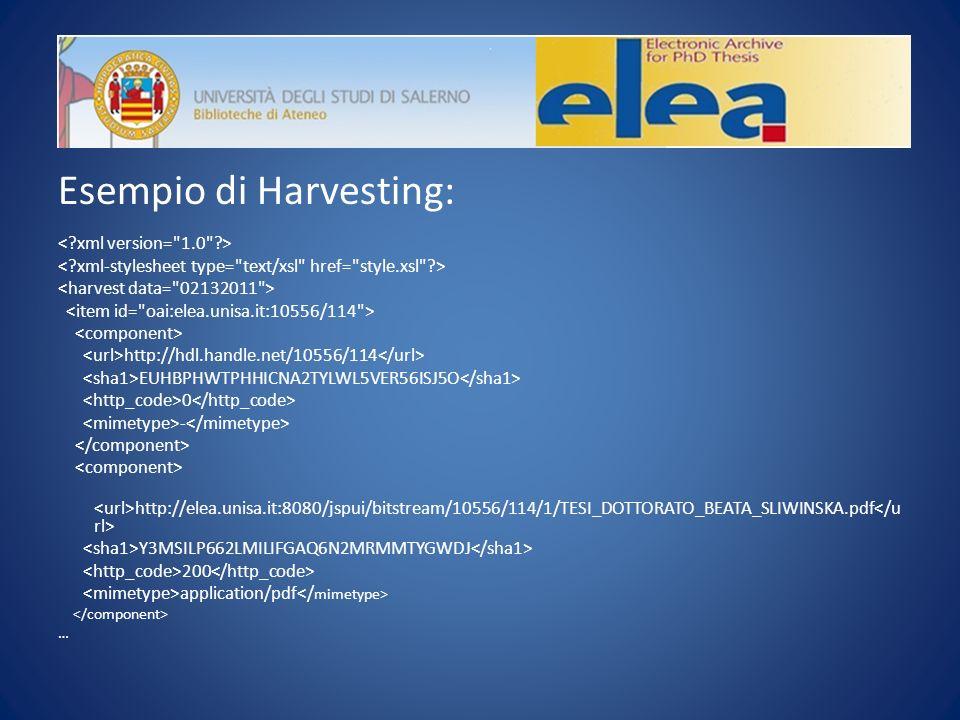 Esempio di Harvesting: http://hdl.handle.net/10556/114 EUHBPHWTPHHICNA2TYLWL5VER56ISJ5O 0 - http://elea.unisa.it:8080/jspui/bitstream/10556/114/1/TESI_DOTTORATO_BEATA_SLIWINSKA.pdf Y3MSILP662LMILIFGAQ6N2MRMMTYGWDJ 200 application/pdf …