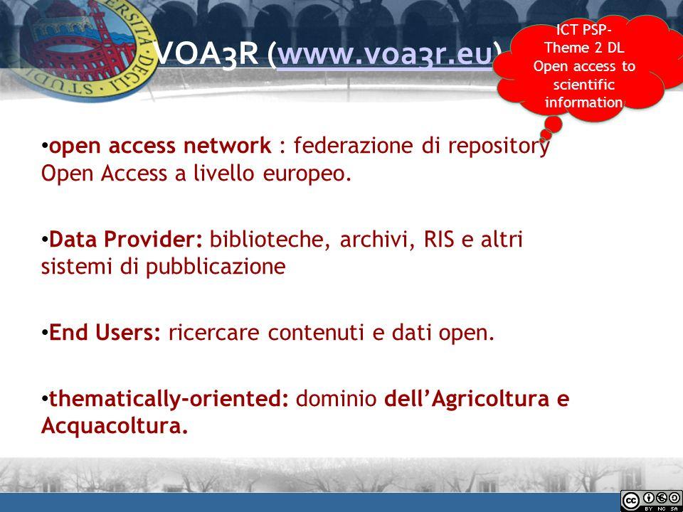 VOA3R (www.voa3r.eu)www.voa3r.eu open access network : federazione di repository Open Access a livello europeo.