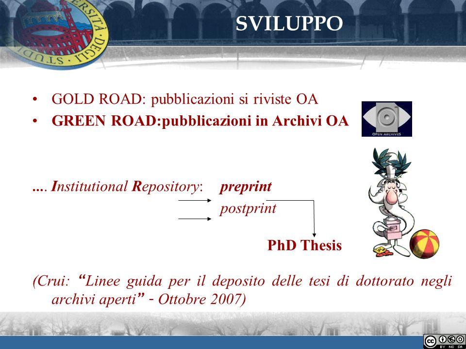 SVILUPPO GOLD ROAD: pubblicazioni si riviste OA GREEN ROAD:pubblicazioni in Archivi OA ….