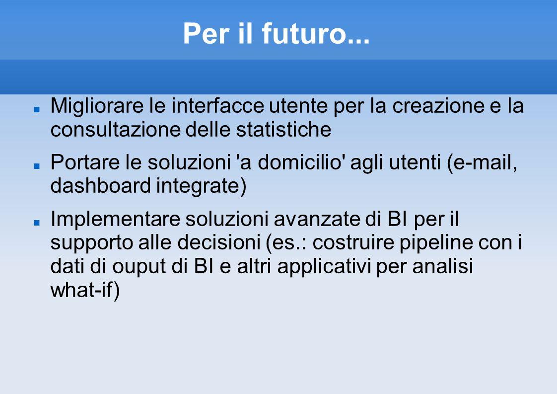Per il futuro... Migliorare le interfacce utente per la creazione e la consultazione delle statistiche Portare le soluzioni 'a domicilio' agli utenti